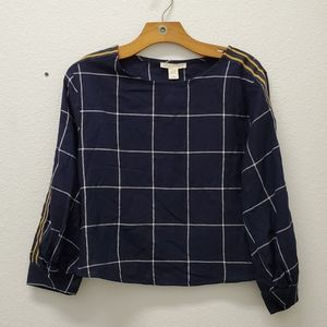 Seven Sisters Checked Navy Blouse